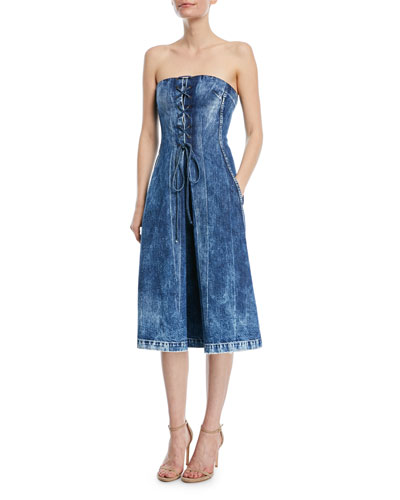 Esme Lace-Up Strapless Denim Dress