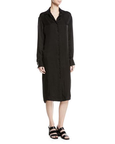 Long-Sleeve Voile Shirtdress, Black