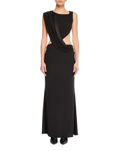 Sleeveless Cutout Open-Back Silk Gown
