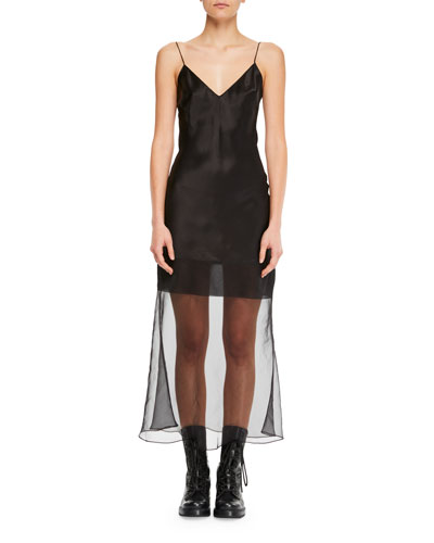 V-Neck Spaghetti-Strap Fitted Midi Cocktail Dress w/ Transparent Hem