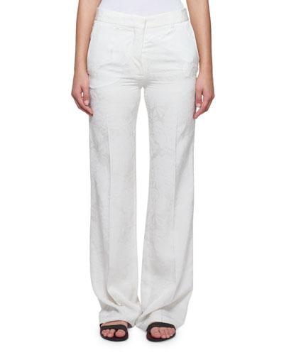 Wide-Leg Floral Cloque Pants