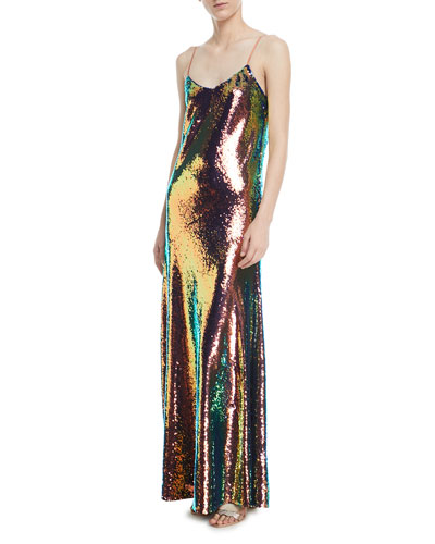 Sequined Sleeveless Slip Gown