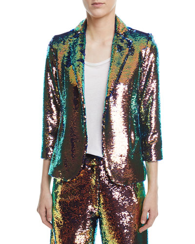 Sequined 3/4-Sleeve Jacket