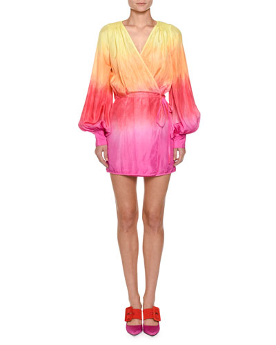 Ombre Balloon-Sleeve Robe Dress
