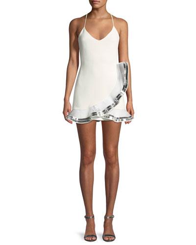 V-Neck Sleeveless Dress with Embroidered Plexi Ruffle