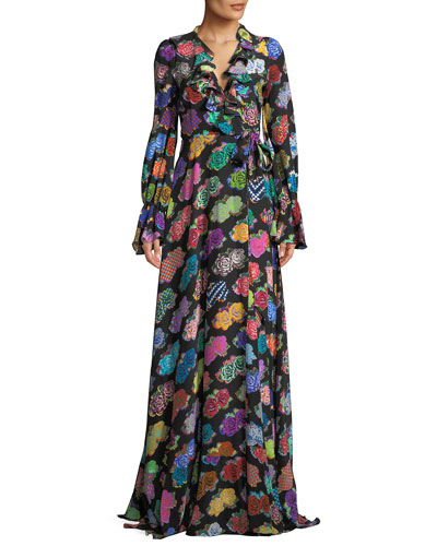 Punk Rock Floral-Print Long-Sleeve Silk Wrap Dress