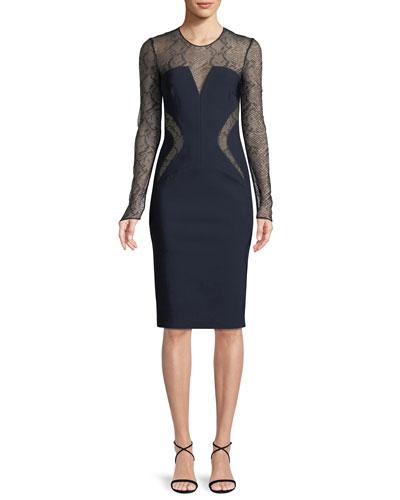 Long-Sleeve Sheath Dress w/ Lace