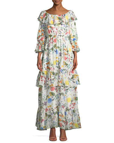 Margaux Ruffled Floral Maxi Dress