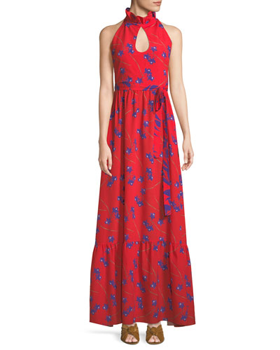 Sleeveless Halter Keyhole Orchid-Print Maxi Dress