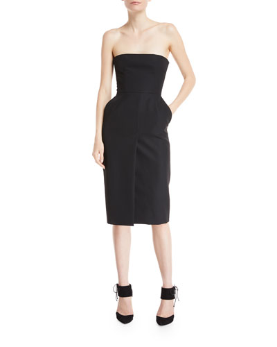 Strapless Slit-Front Cocktail Dress