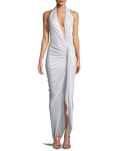 Plunging Glitter Jersey Halter Gown