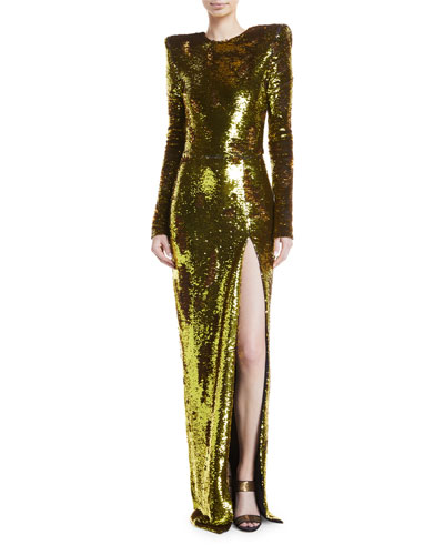Sequined Long-Sleeve Side-Slit Gown
