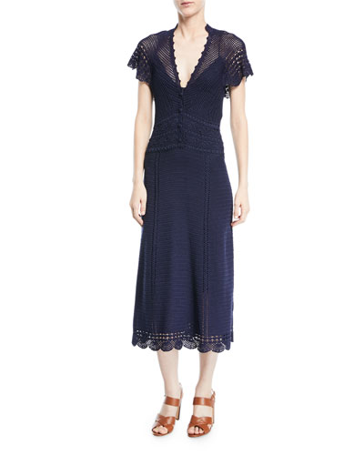 Crocheted Batwing Midi Dress