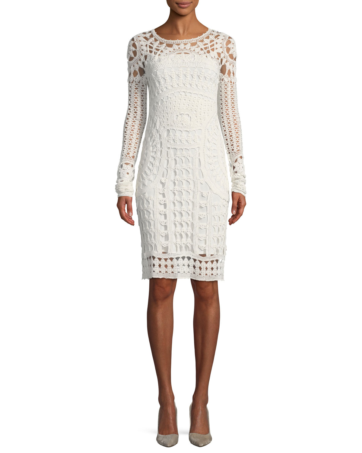 Long-Sleeve Crocheted Silk Dress
