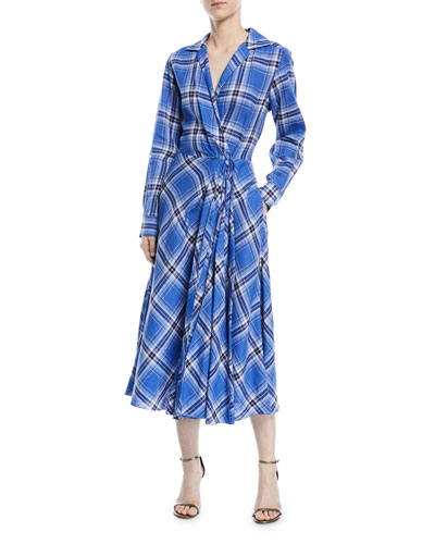 Rivera Plaid Linen Dress
