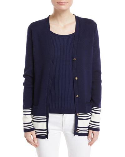 Stripe-Trim Knit Cardigan