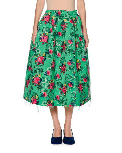 Raw-Edge Floral Brocade Skirt