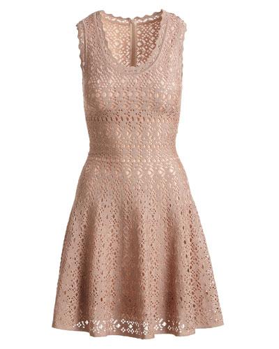 Sleeveless Scalloped Eyelet Lace Fit-and-Flare Short Dress
