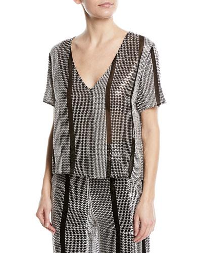 Embellished Short-Sleeve Top