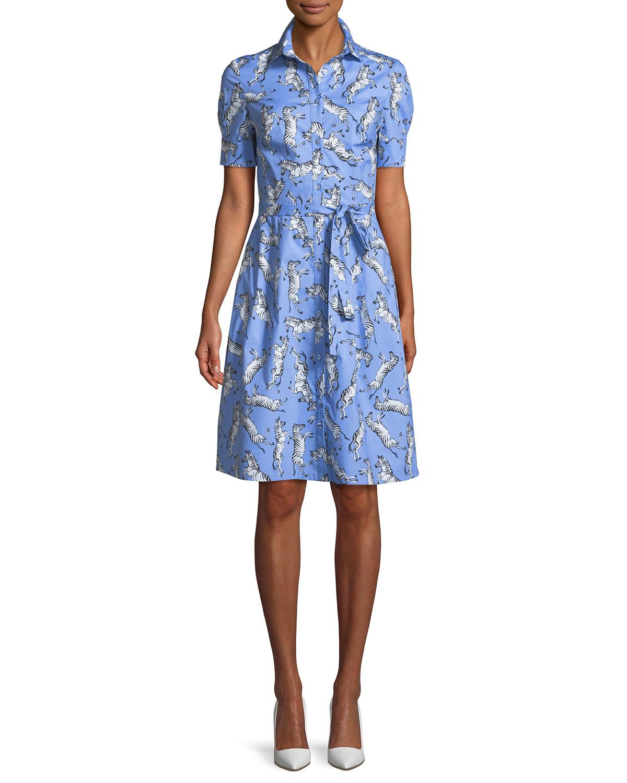 Zebra-Print Tie-Waist Poplin Shirtdress