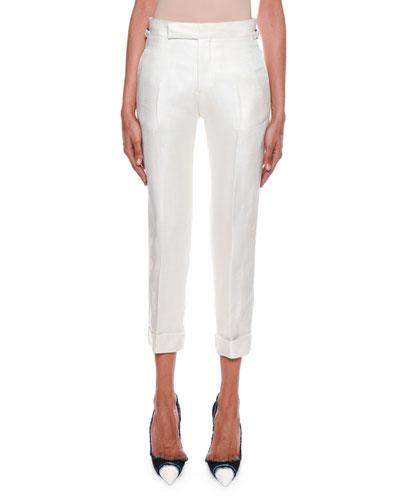 Metallic Twill Crop Pants