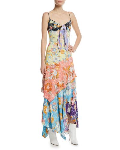 Floral Patchwork Tie-Front Midi Dress