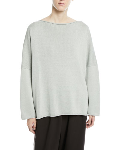 Mercerized Cotton Long-Sleeve Top