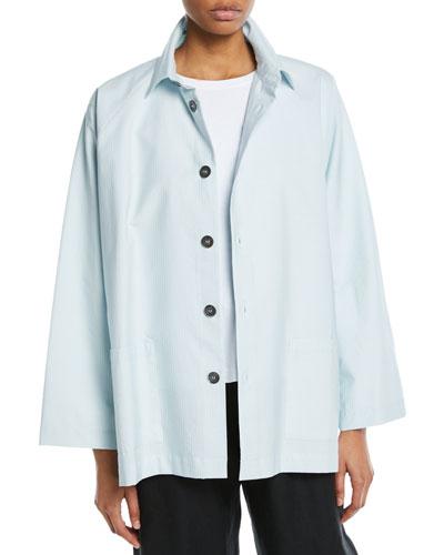 Wide Cotton Spread-Collar Jacket