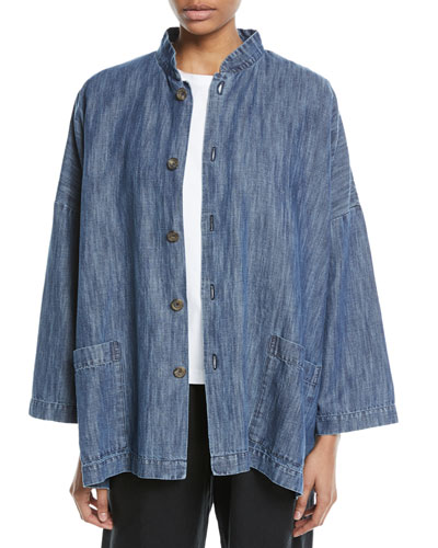 Mandarin-Collar Button-Front Denim Jacket