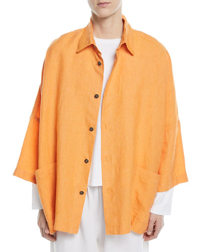 Sloped-Shoulder 3/4-Sleeve Linen Jacket