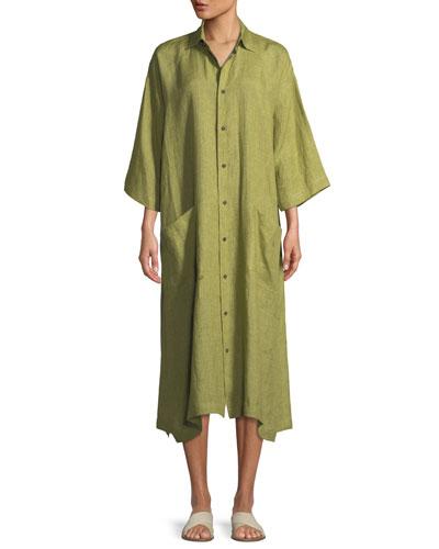 3/4-Sleeve Linen Shirt Dress