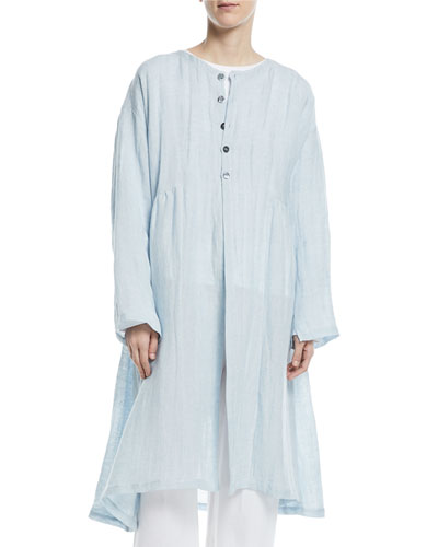 Round-Neck Linen-Blend Pleated Coat