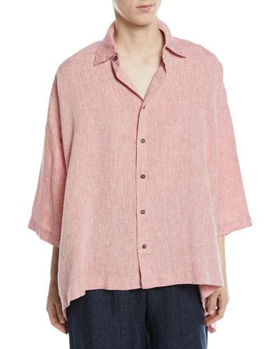 High-Low Spread-Collar Linen T-Shirt