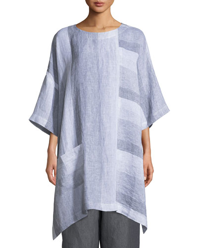 Paneled-Stripe Long Linen T-Shirt