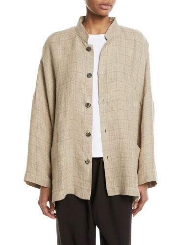 Mandarin Check Linen Jacket