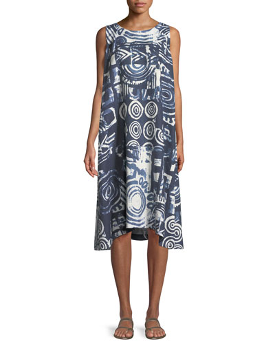 Sleeveless Printed Linen Shift Dress