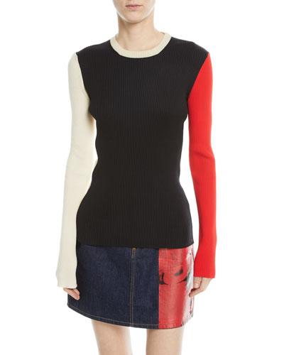Colorblock Crewneck Long-Sleeve Rib-Knit Sweater