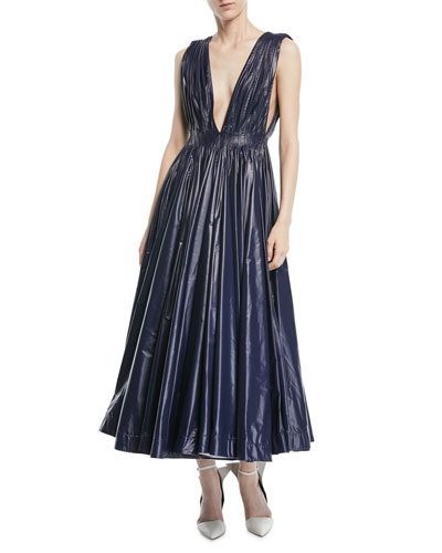 Deep-V Sleeveless Pleated Tent Dress
