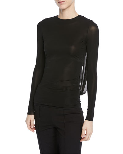 Cris Draped Back Long-Sleeve Fitted Top