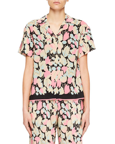 Black Silk Shirt With All Over Flowers Printed., Pink