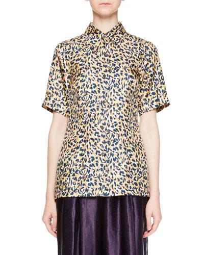 Capia Leopard-Print Short-Sleeve Blouse
