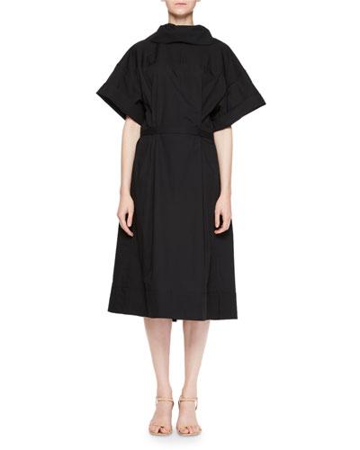 Dafia Short-Sleeve Button-Down Back Midi Cotton Dress