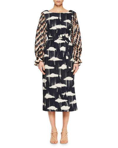 Docta Puff-Sleeve Cloud-Print Dress
