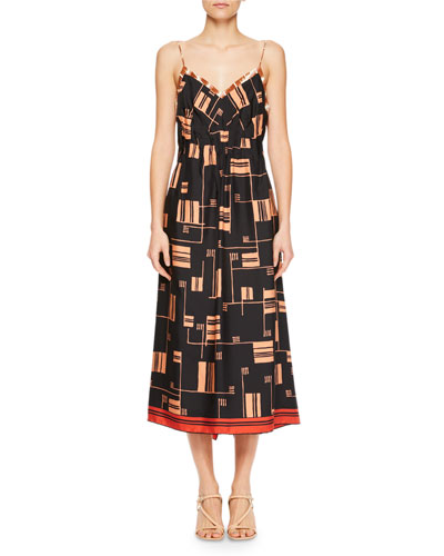 Ditius V-Neck Sleeveless Geometric-Print Midi Dress