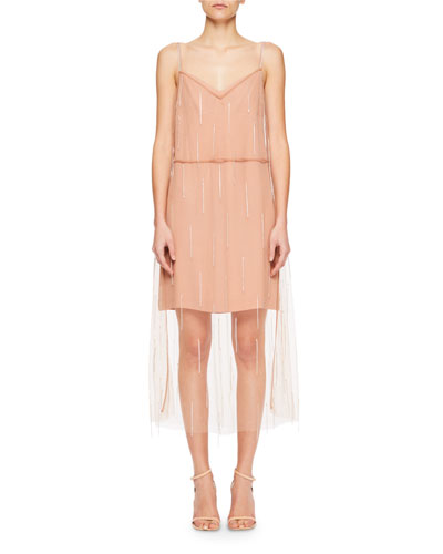 Delax Beaded Tulle Overlay Dress