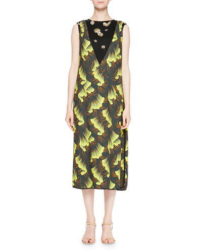 Delibo Leaf-Print Midi Dress