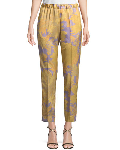 Floral-Print Pull-On Cropped Pants