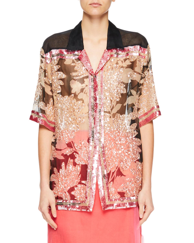 Cobis Beaded Floral Short-Sleeve Top