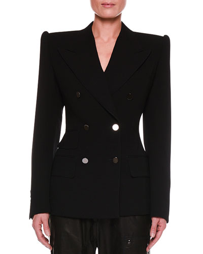 Double-Breasted Notch-Lapel Tailored Jacket