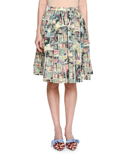Pleated Comic-Print Skirt